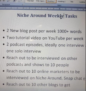 Niche around weekly tasks